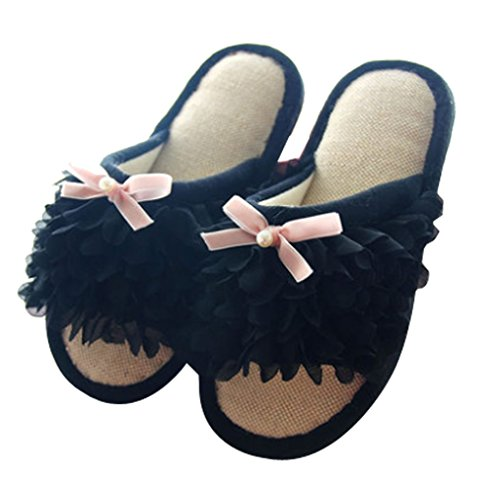 Cattior Womens Floral Open Toe Slippers Bedroom Slippers Black nwZtPv