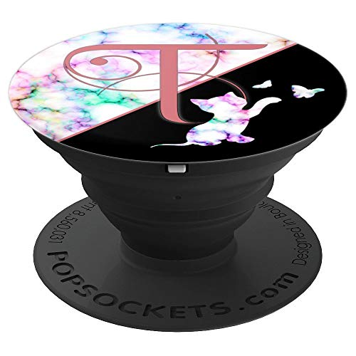 Rose Pink Letter T Rainbow Marble Cat Monogram - PopSockets Grip and Stand for Phones and Tablets