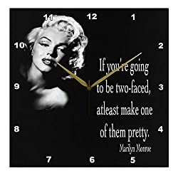 3dRose LLC DPP_130254_2 Wall Clock, 13 by 13-Inch, If You're Going to be Two-Faced, at Least Make One of Them Pretty, Marilyn Monroe Quote