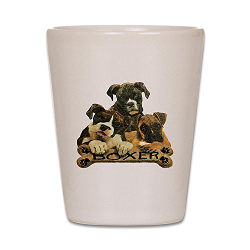 Shot Glass White of Boxer Trio with Bone Name Plate ()