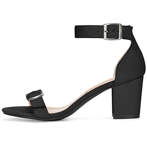 Heel Open Toe Ankle K Black Women Strap Block Allegra Sandals Fwx7qvXE