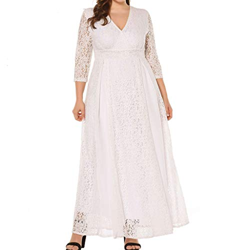 Toimothcn Women Plus Size 3/4 Sleeve Lace Dress Casual Loose Deep V-Neck Wedding Evening Party ()