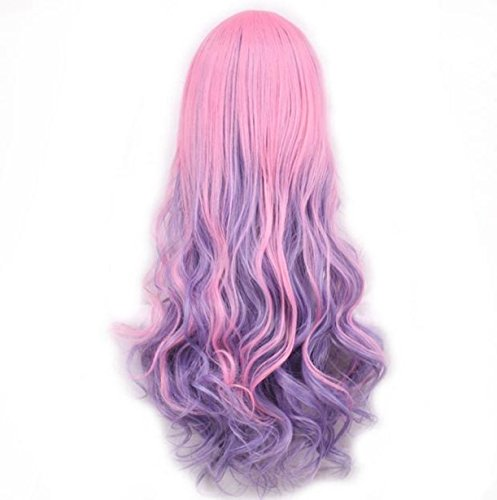[Women Lady Long Hair Wig Curly Wavy Synthetic Anime Cosplay Party Full Wigs (A)] (Wigs Au)