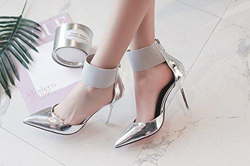 Mit Aisun Zehen High Knöchelriemchen Sandale Lack Damen Heels Reißverschluss Kunstleder Stiletto Spitz Silber HqnpvIaHw