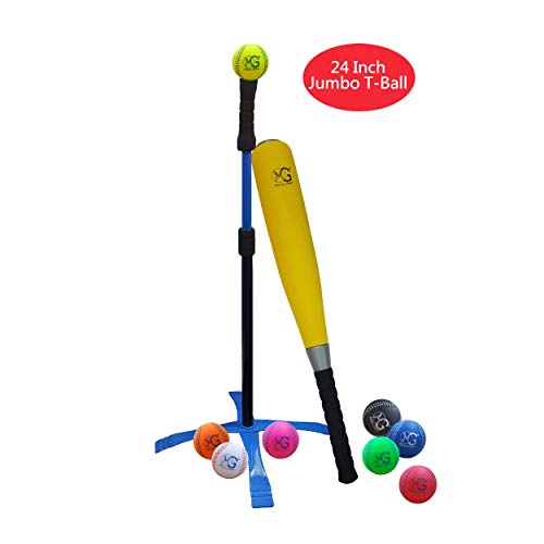 Macro Giant 24 Inch Jumbo T Ball, Tee Ball, T-Ball Set, 1 Yellow Jumbo Foam Bat, 8 Foam Baseballs, Assorted Colors, Training Practice, Youth Batting Trainer, School Playground, Kid ()
