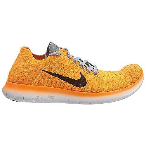 9c3a253be351e Nike Womens Free RN Flyknit Sneaker Laser Orange Gamma Blue Cool Grey Black
