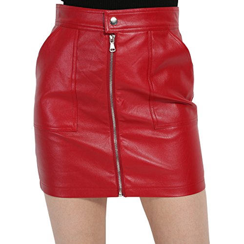 GCAROL Women's Zipper Up Faux Leather Mini Skirts With 2 Pockets