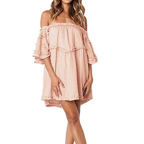 - Alangbudu Women Cold Shoulder Ruffle Loose Oversized Baggy Layered Pleated Top Swing Flare Puffy Dress for Legging Pink