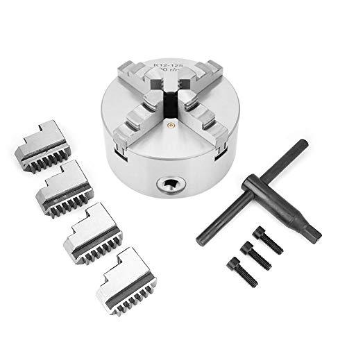 Akozon 4-Jaw Self-Centering Lathe, SANOU K12-125 Chuck 125mm Diameter