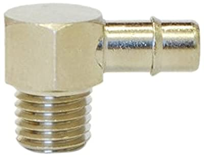 """MettleAir 3/16"""" ID 1/16"""" NPT Male Single Barb Hose/Tubing Fitting Elbow L Connector, Nickel Plated"""