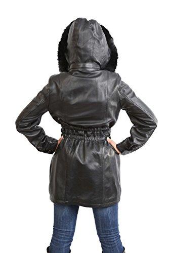 Mediana Desmontable Mujer Cabido Longitud Con Negro Cuero Abrigo Kathy Suave De Hoodie fzTZadwzq