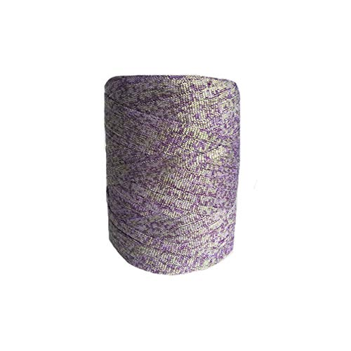 Clisil Sparkle Purple Gold Tape Yarn Crochet Glitter T-Shirt Yarn Bulky Spaghetti Yarn Craft Material Knit Women Summer Handbag Purse Basket Storage Yarn 400g