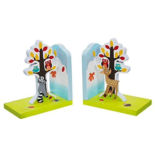 Fantasy Fields - Enchanted Woodland Thematic Set of 2 Wooden Bookends for Kids |  Imagination Inspiring  Hand Crafted & Hand Painted Details | Non-Toxic, Lead Free Water-based Paint (Drop Ship Gifts)