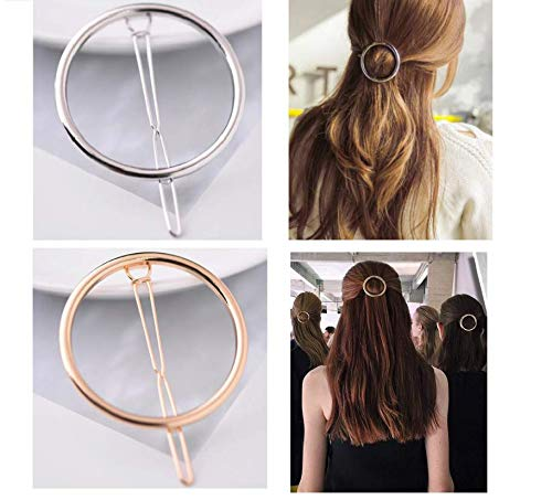 LASSUM 2 Pcs Minimalist Dainty Hollow Geometric Round Circle Metal Hairpin Hair Clip for Women and Girls on any Occasion (Gold & Silver)