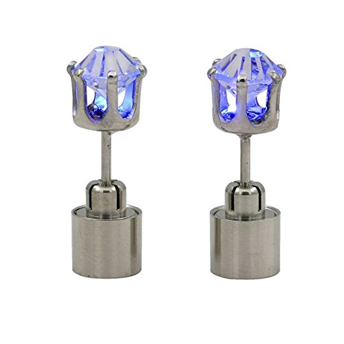 [Fantastic LED Flashing Earrings,FuzzyGreen New LED Flashing Earrings Blue New Fashion Glowing Flashlight Light Up Crystal Rhinestones LED Earrings Ear Studs Drop Pendant for Women] (Flash Different Costumes)
