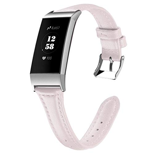 Price comparison product image CSSD Clearance Fashion Luxury Leather Replacement Accessories Wristbands Watch Bands for Fitbit Charge 3 (Pink,  S)