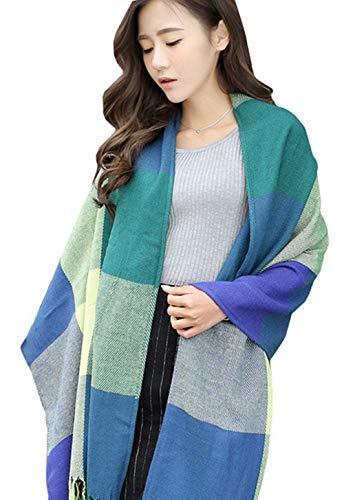 REQU Womens Fashion Long Shawl Big Grid Winter Warm Lattice Large Scarf Cashmere