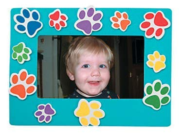 Set of 24 Paw Print Magnetic Magnet Picture Frame Craft Kit Red, Orange, Blue, Purple, Lime Green, Yellow -