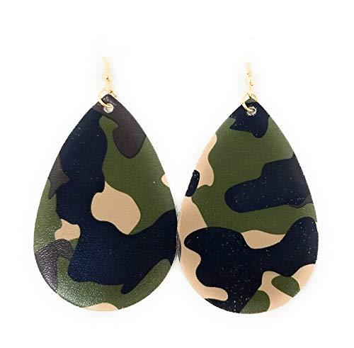 Camouflage Teardrop Leather Earring for Women Leather Earring -