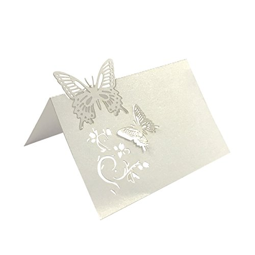 Allydrew Laser Cut Wedding Table Setting Place Cards (Set of 50), Butterflies