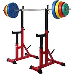 Adjustable Squat Rack Max Load 480Lbs Sturdy Steel Squat Barbell Free Bench Press Stands Gym/Home Gym Portable Dumbbell Racks Stands