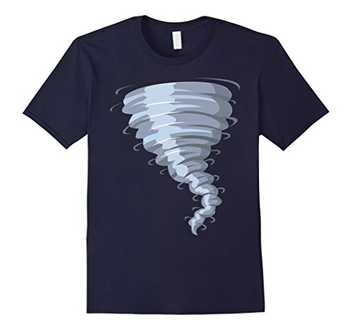 Male Twister Halloween Costume (Mens Tornado Costume Shirt Storm Twister Scary Weather Hurricane XL Navy)
