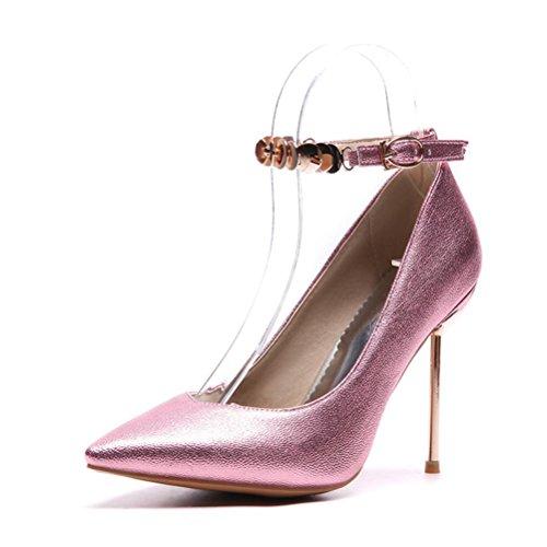 Femmes Chaussures Hauts Forme De Shallow Talon Ronde Xie Bouche Beige Talons Métal Travail Tête À Jane Color Bas Différentes Simples Mary wzxzXAf0q