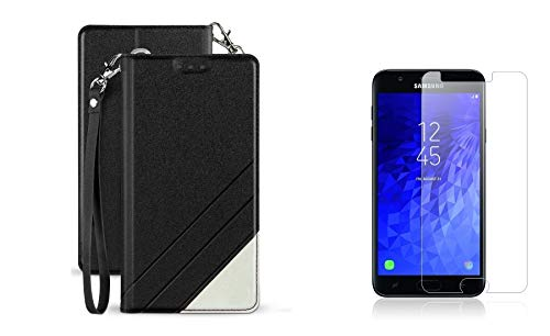 BC Synthetic PU Leather Magnetic Flip Cover Wallet Case (Black) with Tempered Glass Screen Protector and Atom Cloth for Samsung Galaxy Amp Prime 3 2018 (Cricket) by Bemz Depot (Image #7)