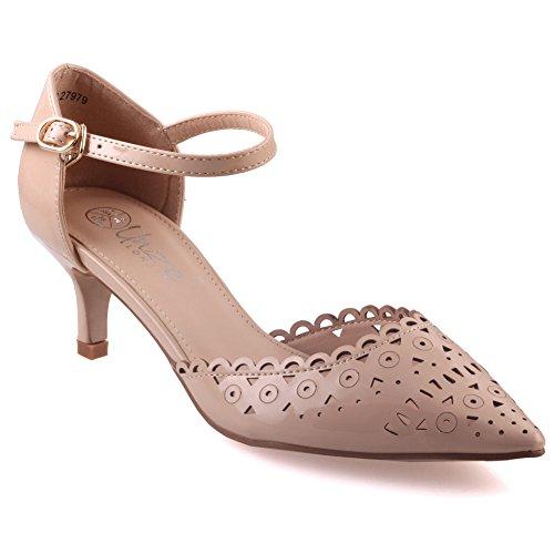 Unze Mujeres Ilexa ' Recorte Zapatos de tacón Diseñado DESNUDO