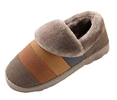 Icegrey Unisex Zapatillas De Estar Por Casa Invierno Patrón De Rayas Calientes Flap Polo De Casa Zueco Pantuflas Gris