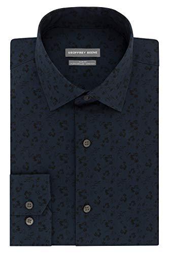Geoffrey Beene Men's Dress Shirt Slim Fit Flex Collar Stretch Print, Denim, 15