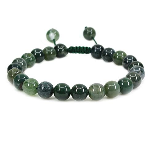Natural Moss Agate Gemstone 8mm Round Beads Adjustable Braided Macrame Tassels Chakra Reiki Bracelets 7-9 inch Unisex