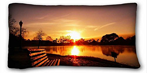 (Custom Cotton & Polyester Soft ( Nature Lake Sunset ) Standard Size Pillowcase for Hair & Facial Beauty Size 20x36 Inches suitable for X-Long Twin-bed PC-Bluish-23892)