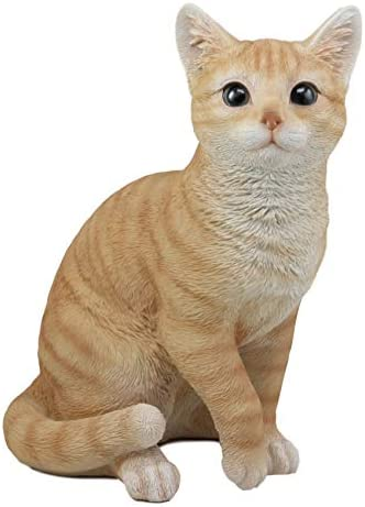 "Ebros Lifelike Sitting Orange Tabby Cat w//Glass Eyes Resin Statue 7.5/""H"