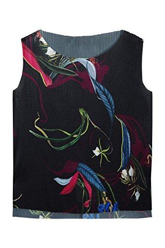next Mujer Top Camiseta Blusa Plisado Formal Estampado Cuello Redondo Print