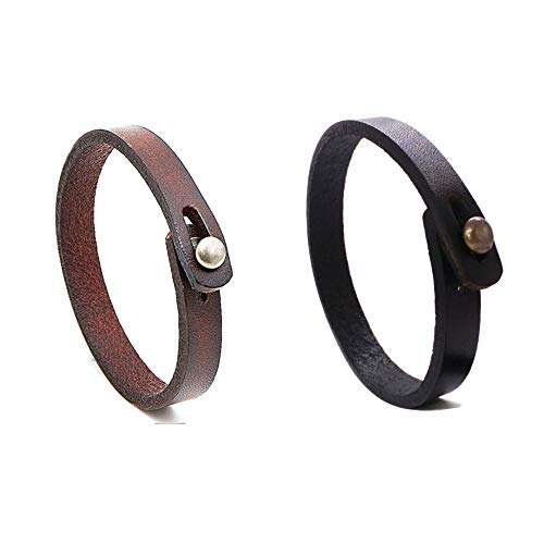 (MLD Handmade Unisex Genuine Leather Bracelet, Adjustable Cuff Wristband,Punk Leather Wrap (Black+Brown))
