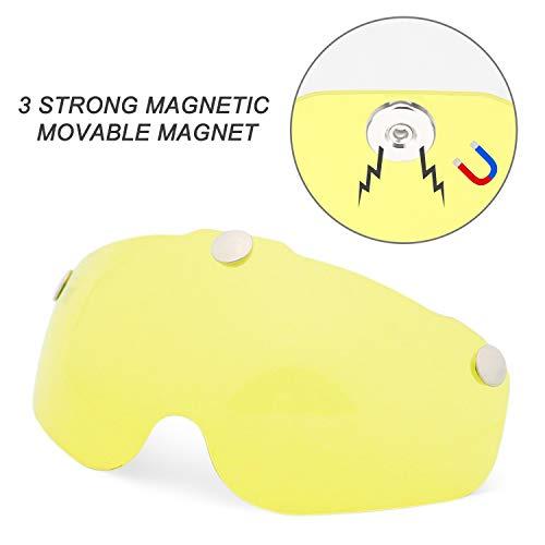 Bike Helmet Goggles Visor Shield, Removable/Detachable Magnetic Visor Goggles Shield Yellow for Cycling Helmet in Model BC-069