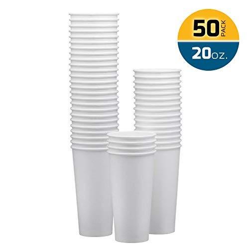 - NYHI Disposable & Reusable Paper Cups, Espresso Cups – White - For Hot/Cold Coffee, Tea & Chocolate, Water, Beverages– Pack Of 50 - Extra Thick And Sturdy With Rolled Rim , Made In USA