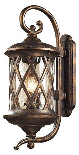 Barrington Gate 3 Light Outdoor Sconce in Hazlenut Bronze and Designer Water Glass