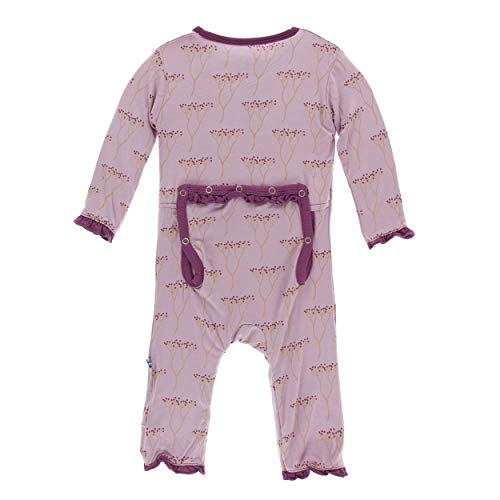 Kickee Pants Little Girls Print Muffin Ruffle Coverall with Zipper - Cooksonia, 4T ()