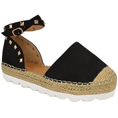 Mujer Alpargatas Tobillo Sandalias de Tiras Rock Tachuela Zapatos Verano Números Negro Ante Imitación / color dorado Pernos