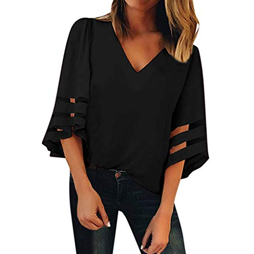 MIUCAT Women's Casual V Neck 3/4 Bell Sleeves Loose Blouse Tee Shirt Solid Top Black (Akademiks Striped Polo Shirt)