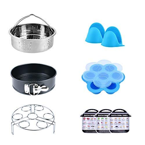 Pressure Cooker Accessories Set with Steamer Basket Egg Steamer Rack Non-stick Springform Pan 1 Pair Silicone Cooking Pot Mitts Silicone Egg Bites Molds Foldable Bowl Plate Dish Clip Clamp Lunalife