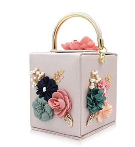 Women amp;OS Vintage Bag Shape Square Clutches Flower Tote Clutch Purse Wedding Bags ZJ beige Party Evening FBwxg5q5