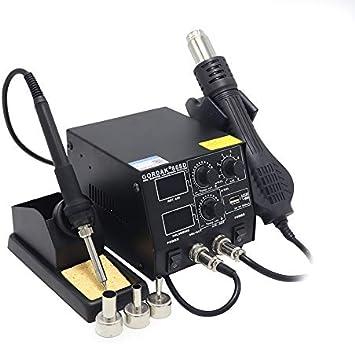 QWERTOUY Inteligente 3 en 1 Anti-estática de Aire Caliente de Doble Pistola de Aire Caliente Digital de la estación de Soldadura de Carga USB móvil,A
