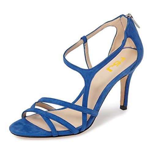 Cut Women Strappy Back 4 US Heel Zipper Sandals Out FSJ Shoes Size High Prom Classy Blue Party 15 Evening Y4E8xnqd