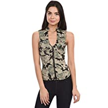 Sexy Female Military Camouflage Vest Jacket Cross-cut Out Back Side (L3471)