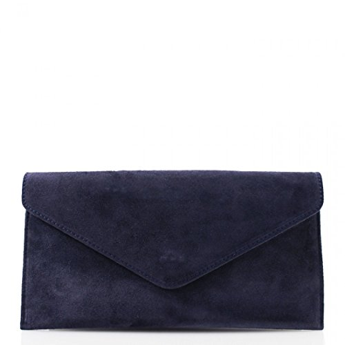 Bag Wedding Clutch Bags Envelope Cross Italian Purse Genuine Handbag Womens Body Ladies Suede Leather Party Navy C64HXwq