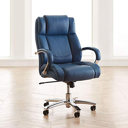 BrylaneHome Extra Wide Chrome Finish Office Chair - Lagoon