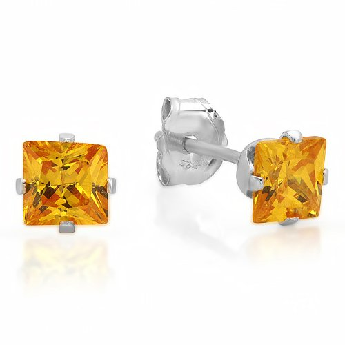 925 Sterling Silver 4*4mm Pricess Cut Yellow Cubic Zirconia Stud Earrrings